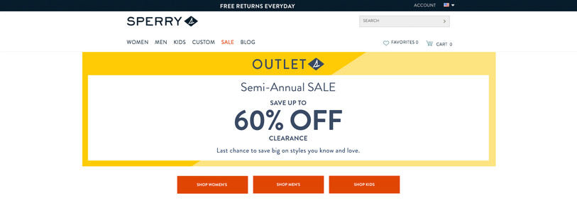 Sperry Outlet Page Sale Masthead