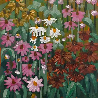 Coneflowers & Daisies (8x8 Wood Block)