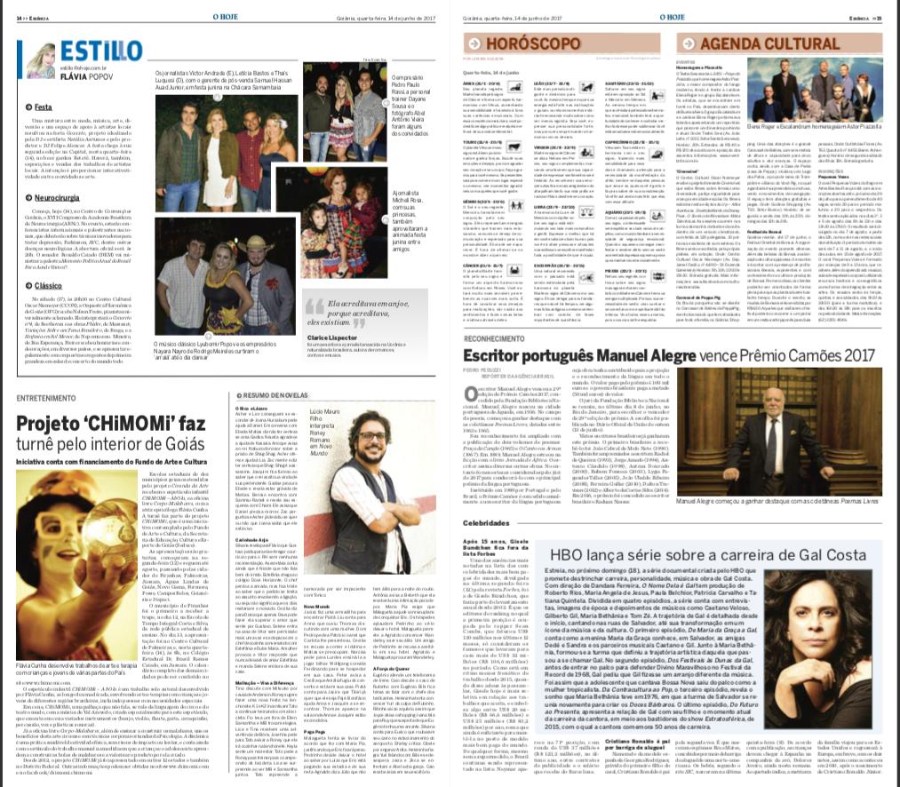 Jornal O Hoje, 14 junho 2017. Goiás