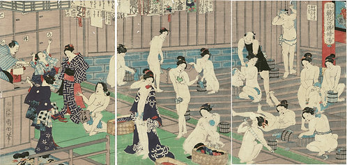 Kunichika - A scene of a public bath