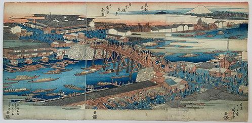 Hiroshige - Fish market in Nihonbashi, Edo