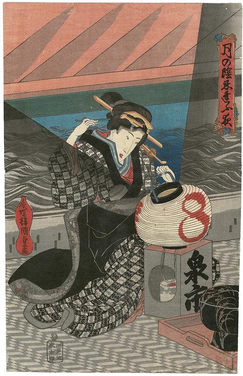 Kunisada - bijin in lantern light