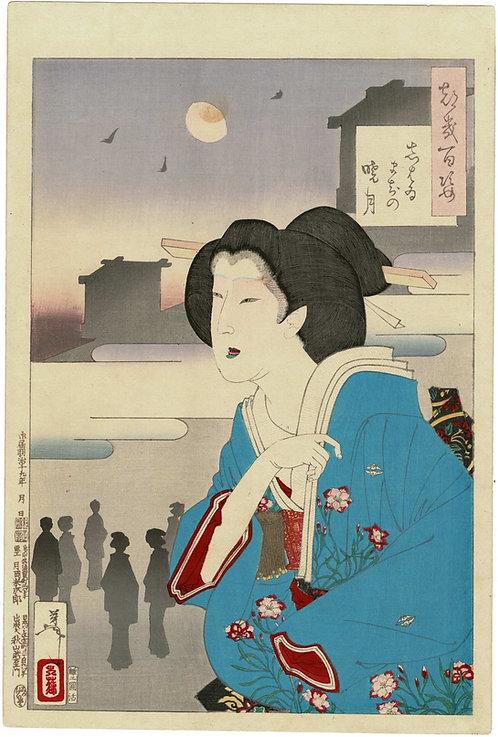 Yoshitoshi - Theatre district dawn moon