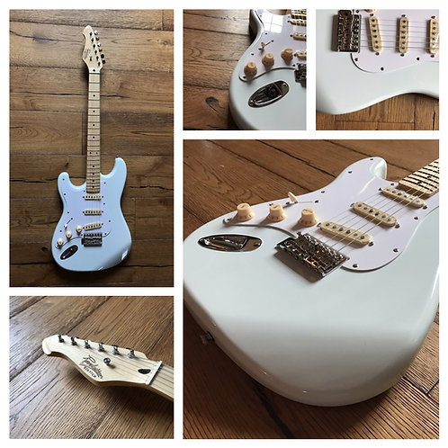 Revelation RTS-57 left-handed electric guitar in arctic white