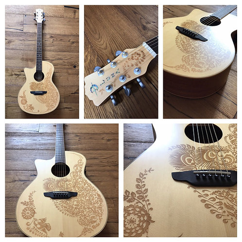 Luna Guitars Henna Oasis Lefty Acoustic/Electric - Spruce