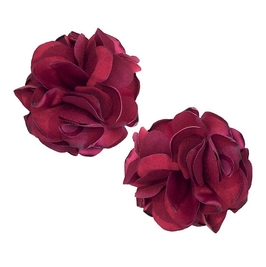 Flower Shoe Clips Burgundy