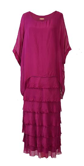 Silk Layer Dress Cerise