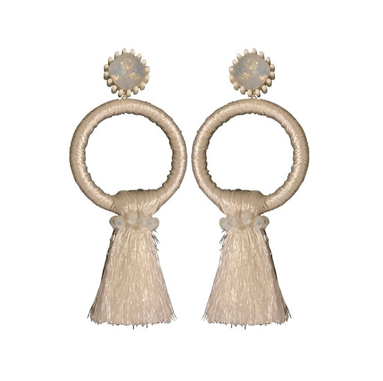 Hoop Tassle  Earrings White