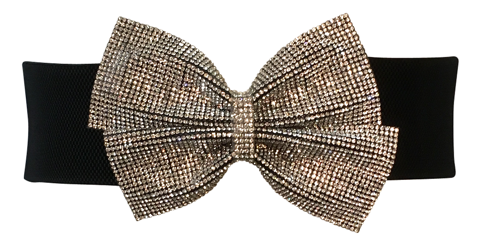 Glitter Bow Belt Silver