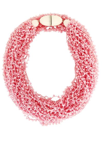 Soft Multi Strand Necklace Pink