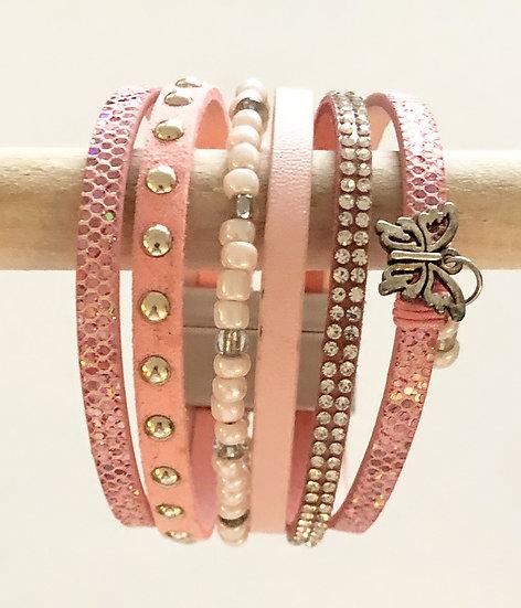 6 Tier Magnetic Bracelet Pink