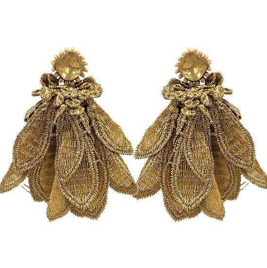 Brocade Earrings Gold