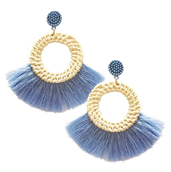 Rafia Fringe Earrings Blue