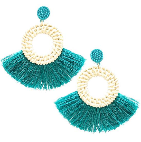 Rafia Fringe Earrings Aqua