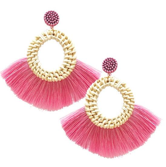 Rafia Fringe Earrings Pink