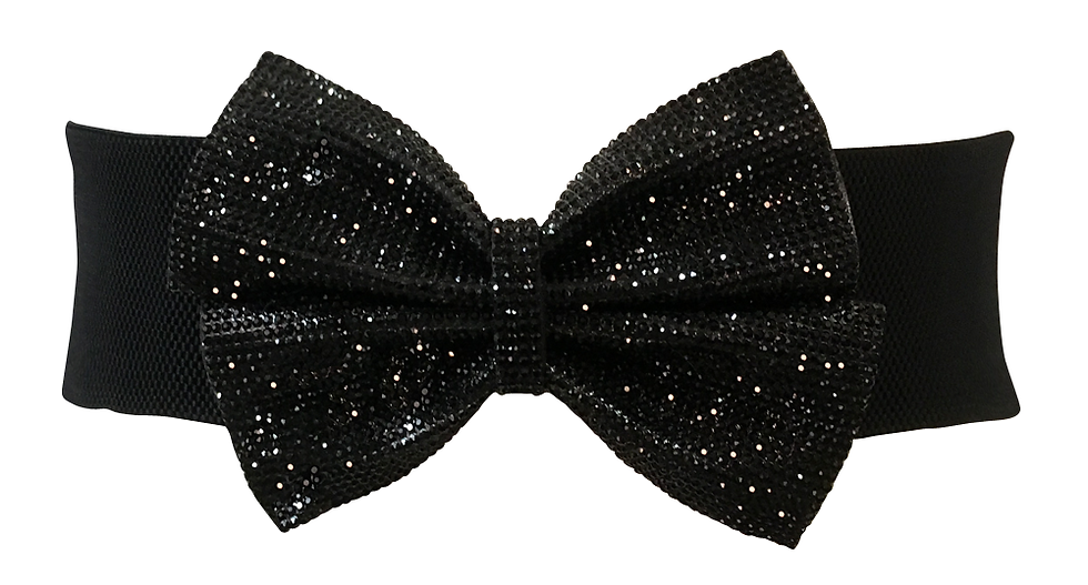 Glitter Bow Belt Black