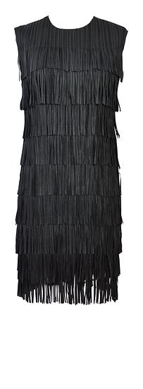 Short Fringe Dress Black