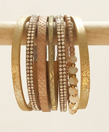 6 Tier Magnetic Bracelet Gold