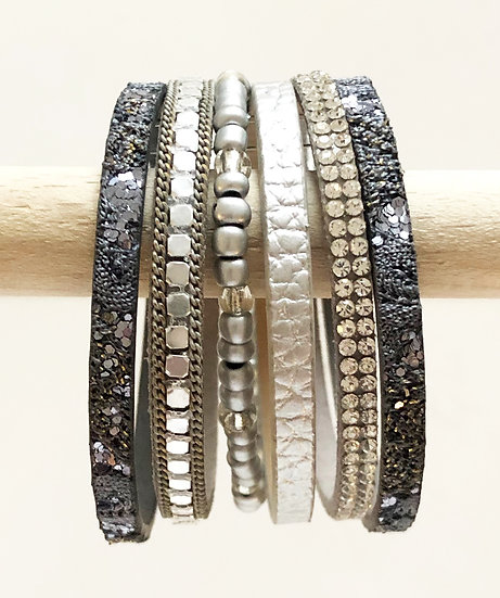 6 Tier Magnetic Bracelet Grey