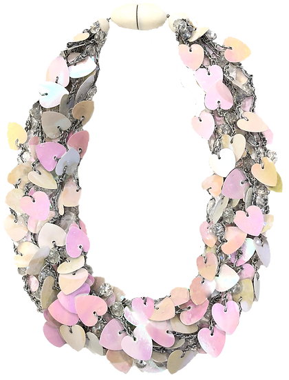 Hearts Necklace White/Pink