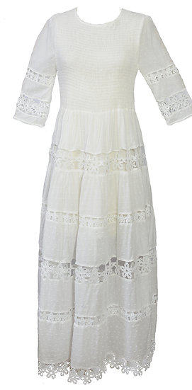 Angelica Dress, Long, Three Quarter Sleeve