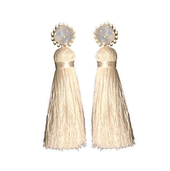 Tassle  Earrings White