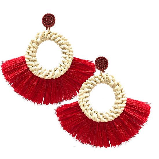 Rafia Fringe Earrings Red