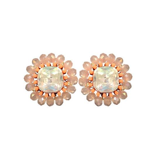 Cluster Stud Earrings Coral