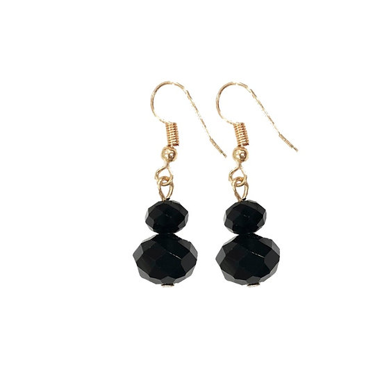 Drop Stud Earrings Black