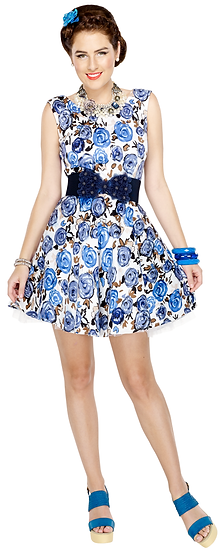 Rose Dress Blue