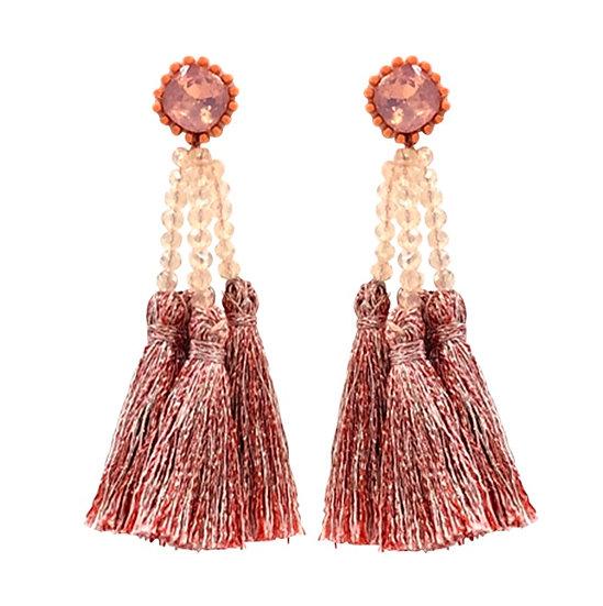 Multi Tassle  Earrings Coral
