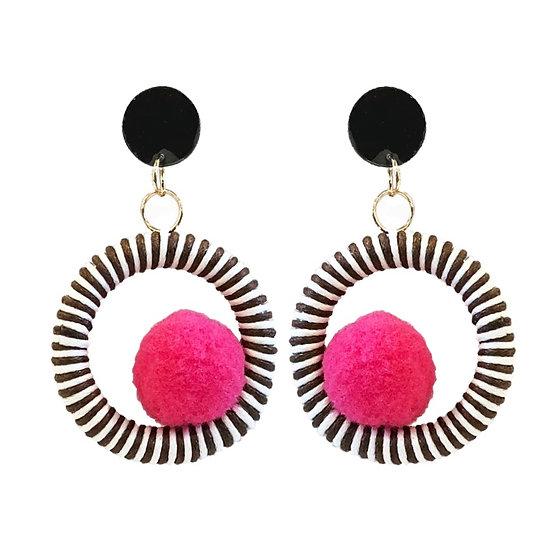 Pom Pom Earrings Pink