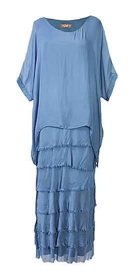 Silk Layer Dress Blue