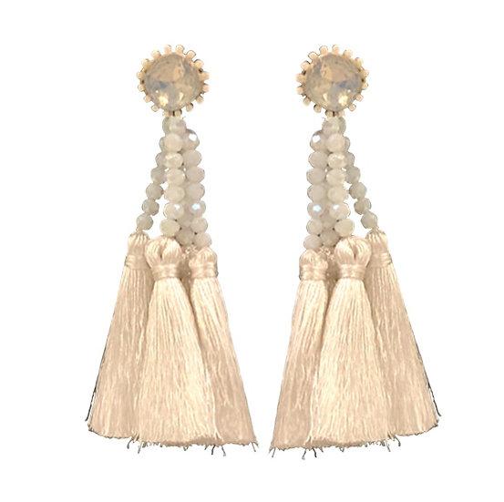 Multi Tassle  Earrings White