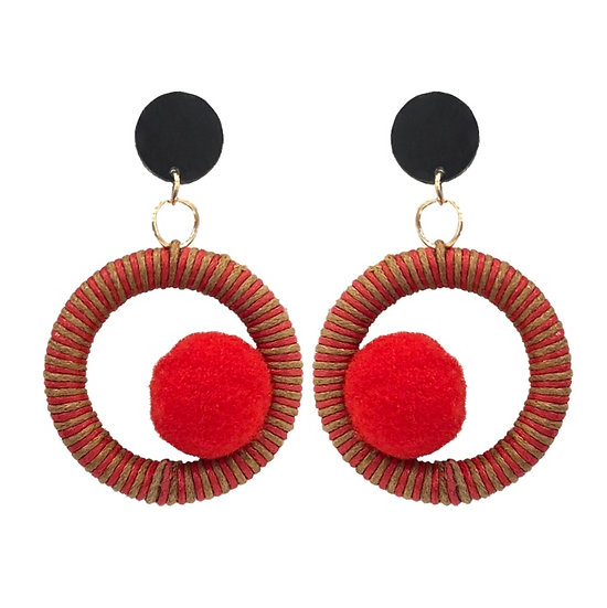 Pom Pom Earrings Red