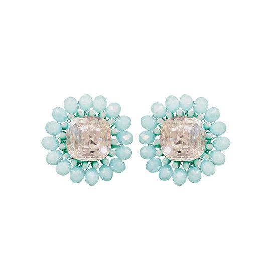 Cluster Stud Earrings Blue
