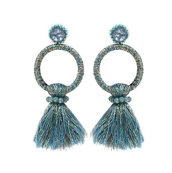 Hoop Tassle  Earrings Blue