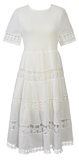 Angelica Dress, Midi, Short Sleeve