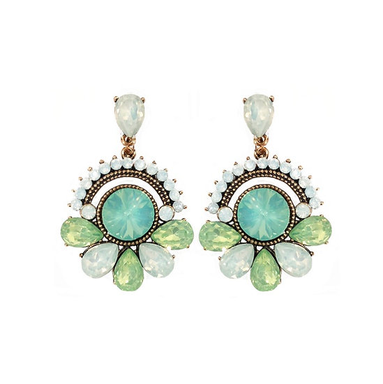 Windsor Round Earrings Green