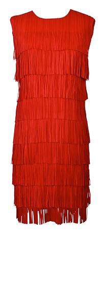 Short Fringe Dress Red