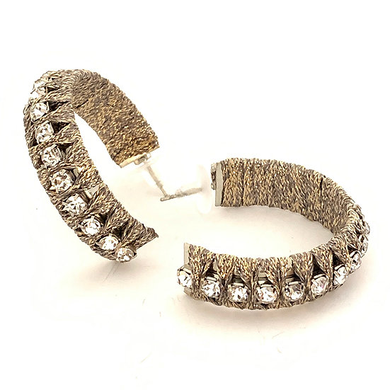 Diamanté Cord Hoops Bronze