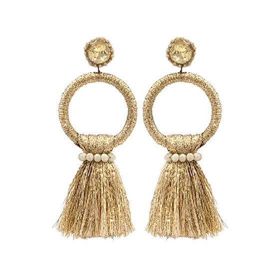 Hoop Tassle  Earrings Gold
