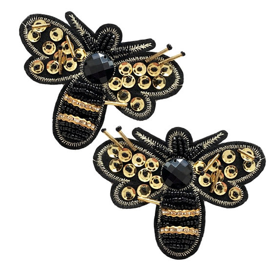 Beaded Bee Shoe Clips