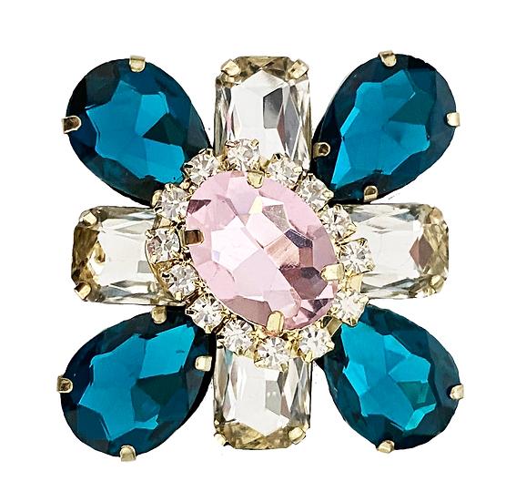 Teal/Pink Daimanté Brooch