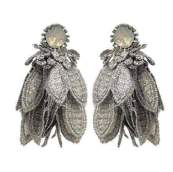 Brocade Earrings Silver