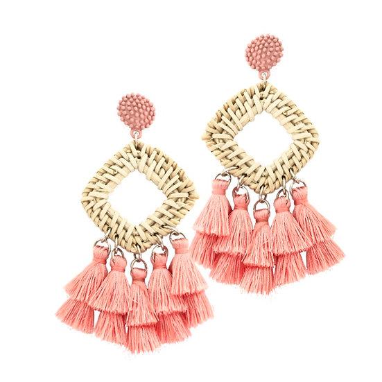 Rafia Tassle Earrings Peach