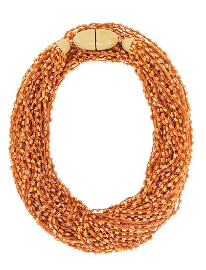 Soft Multi Strand Necklace Orange