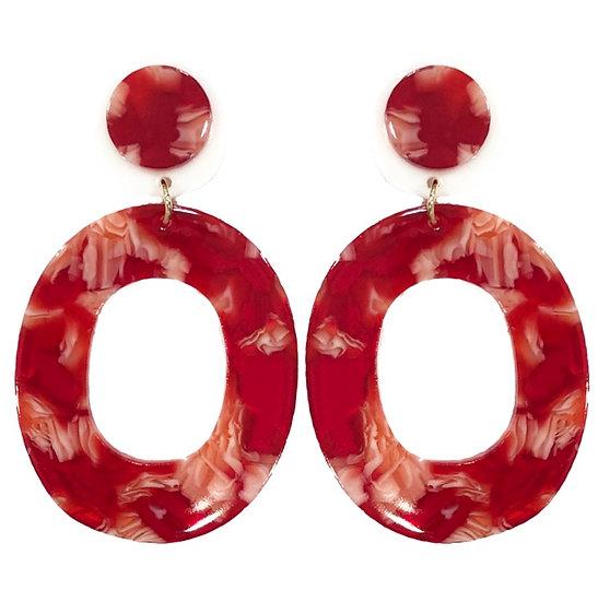 Red Acrylic Hoop Earrings