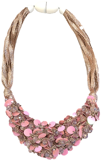 Cluster Necklace Pink