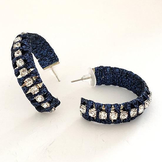 Diamanté Cord Hoops Blue